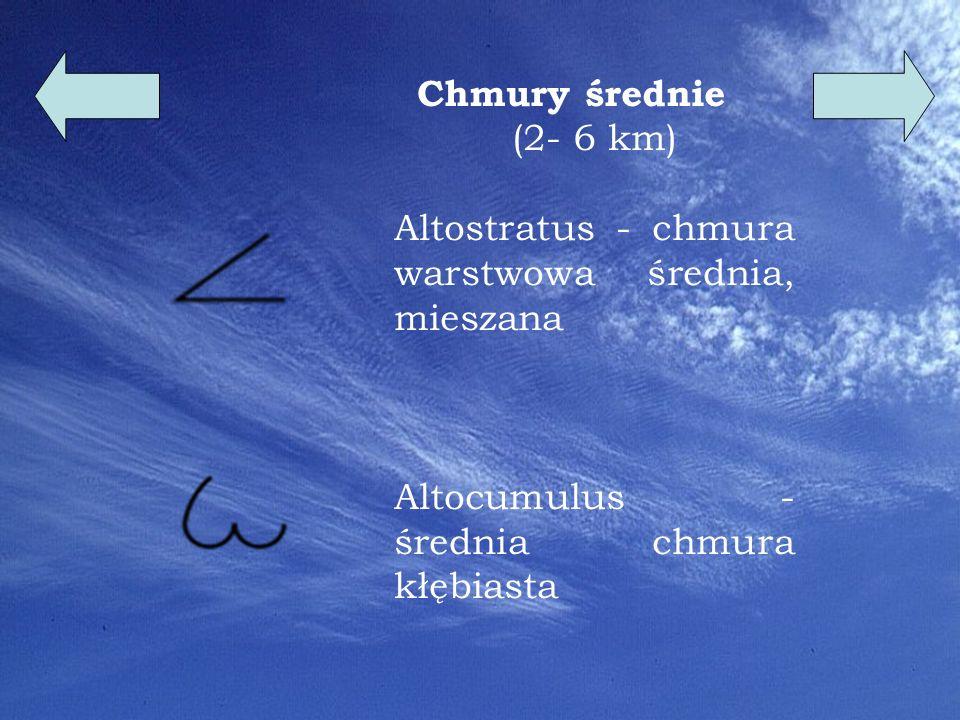 7 Chmury niskie ( 0,5- 5 km) Nimbostratus - ciemna, gęsta chmura warstwowa, mieszana - chmury deszczowe Stratocumulus - niska chmura kłębiasto-warstwowa zbudowana z kropelek wody Stratus - chmura warstwowa dająca gęstą, ciemną pokrywę (po łacinie oznacza to rozciągnięte )