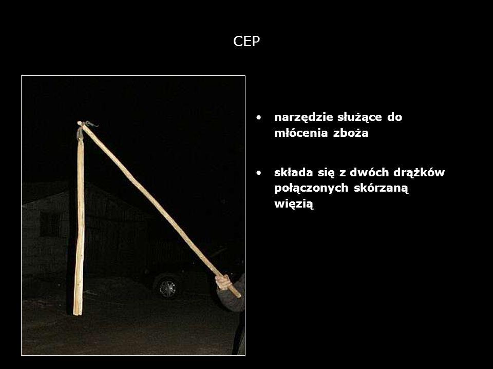 13 CEP narzędzie służące do młócenia zboża składa się z dwóch drążków połączonych skórzaną więzią