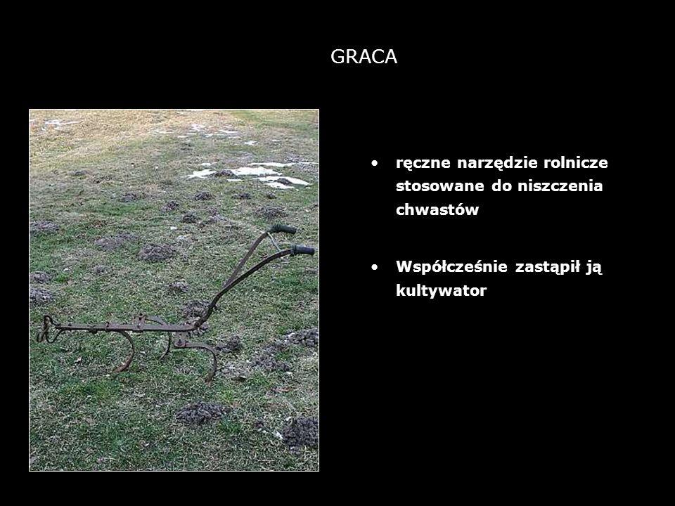 5 GRACA ręczne narzędzie rolnicze stosowane do niszczenia chwastów Współcześnie zastąpił ją kultywator