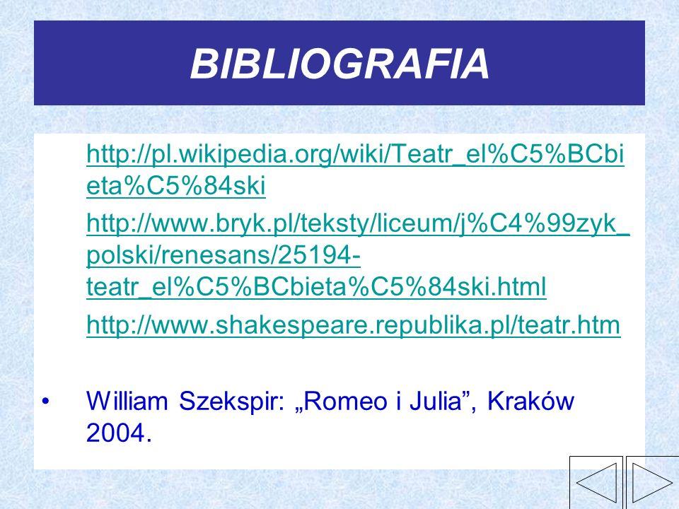 BIBLIOGRAFIA http://pl.wikipedia.org/wiki/Teatr_el%C5%BCbi eta%C5%84ski http://pl.wikipedia.org/wiki/Teatr_el%C5%BCbi eta%C5%84ski http://www.bryk.pl/
