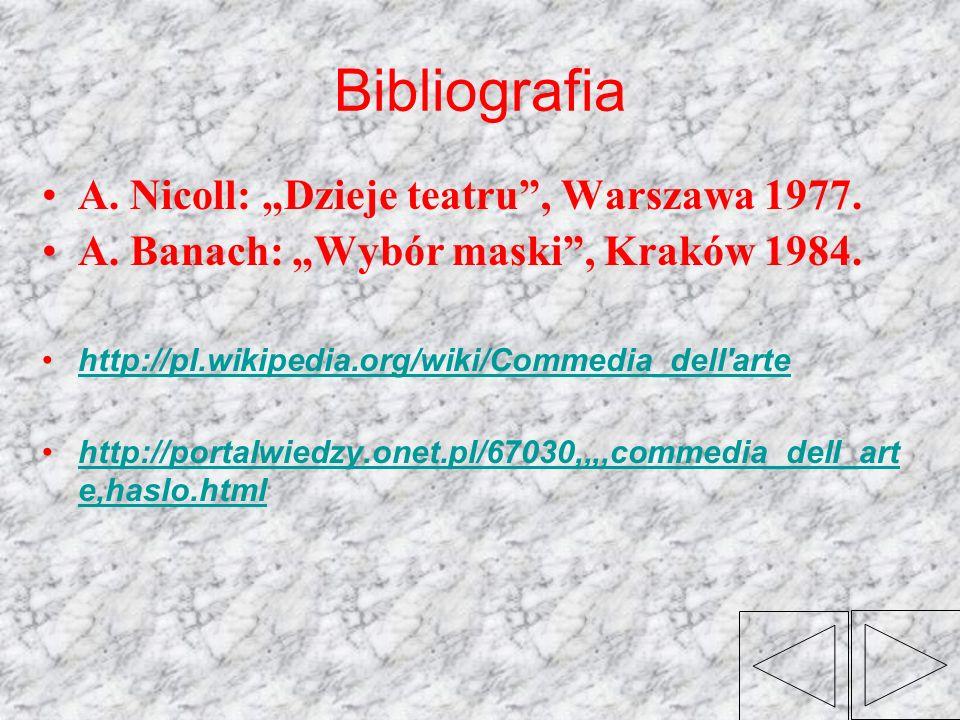 Bibliografia A. Nicoll: Dzieje teatru, Warszawa 1977. A. Banach: Wybór maski, Kraków 1984. http://pl.wikipedia.org/wiki/Commedia_dell'arte http://port