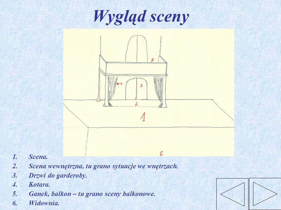 Wygląd sceny 1.Scena. 2.Scena wewnętrzna, tu grano sytuacje we wnętrzach. 3.Drzwi do garderoby. 4.Kotara. 5.Ganek, balkon – tu grano sceny balkonowe.