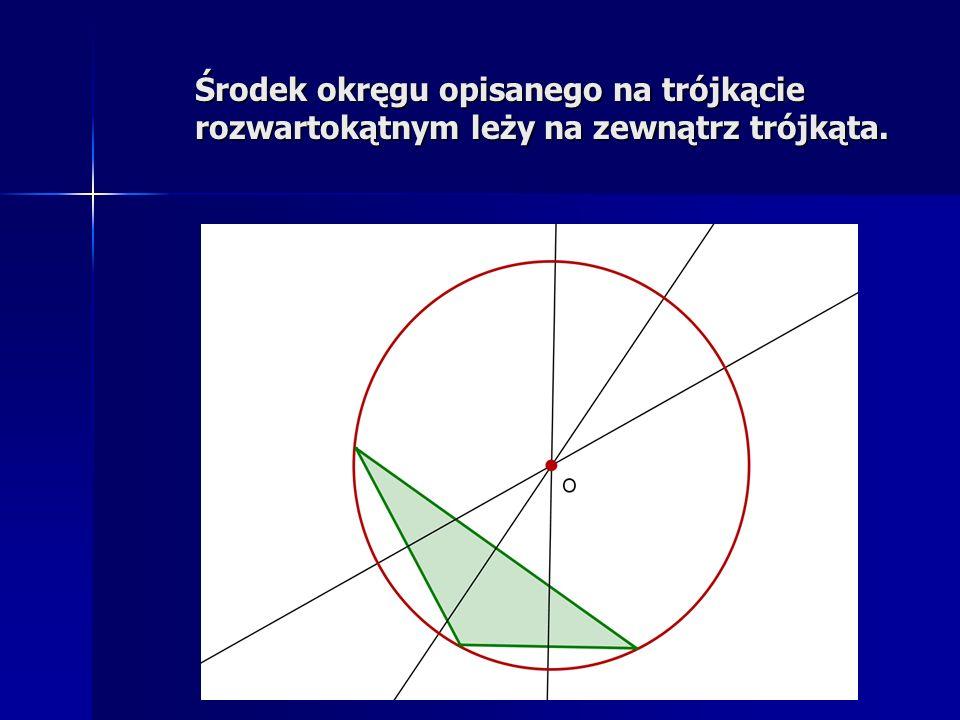 Środek okręgu opisanego na trójkącie prostokątnym jest środkiem przeciwprostokątnej.