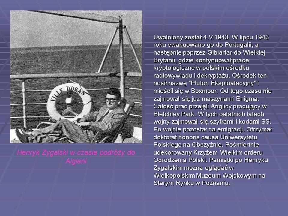 Uwolniony został 4.V.1943. W lipcu 1943 roku ewakuowano go do Portugalii, a następnie poprzez Giblartar do Wielkiej Brytanii, gdzie kontynuował prace