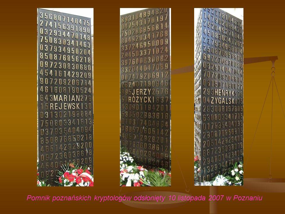 Pomnik poznańskich kryptologów odsłonięty 10 listopada 2007 w Poznaniu