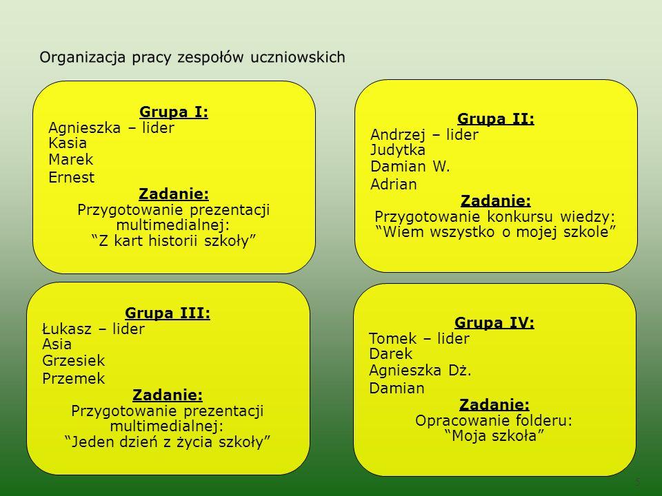 5 Grupa II: Andrzej – lider Judytka Damian W.