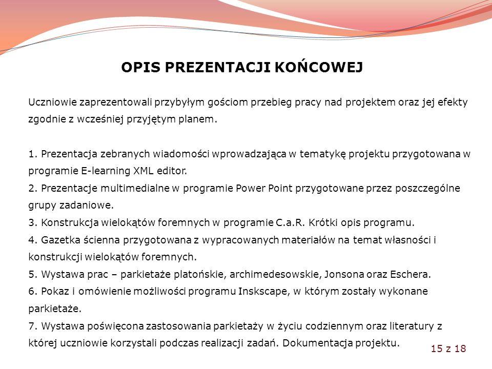OPIS PREZENTACJI KOŃCOWEJ Uczniowie zaprezentowali przybyłym gościom przebieg pracy nad projektem oraz jej efekty zgodnie z wcześniej przyjętym planem