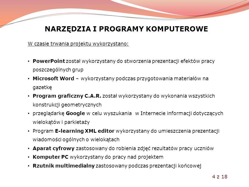 NARZĘDZIA I PROGRAMY KOMPUTEROWE W czasie trwania projektu wykorzystano: PowerPoint został wykorzystany do stworzenia prezentacji efektów pracy poszcz