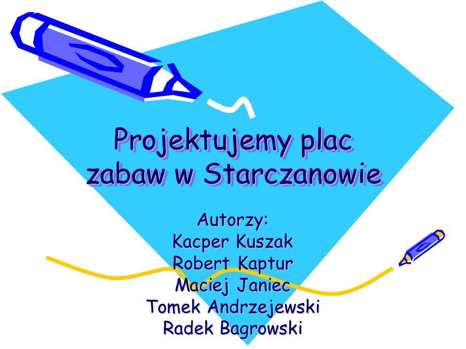 Projektujemy plac zabaw w Starczanowie Autorzy: Kacper Kuszak Robert Kaptur Maciej Janiec Tomek Andrzejewski Radek Bagrowski