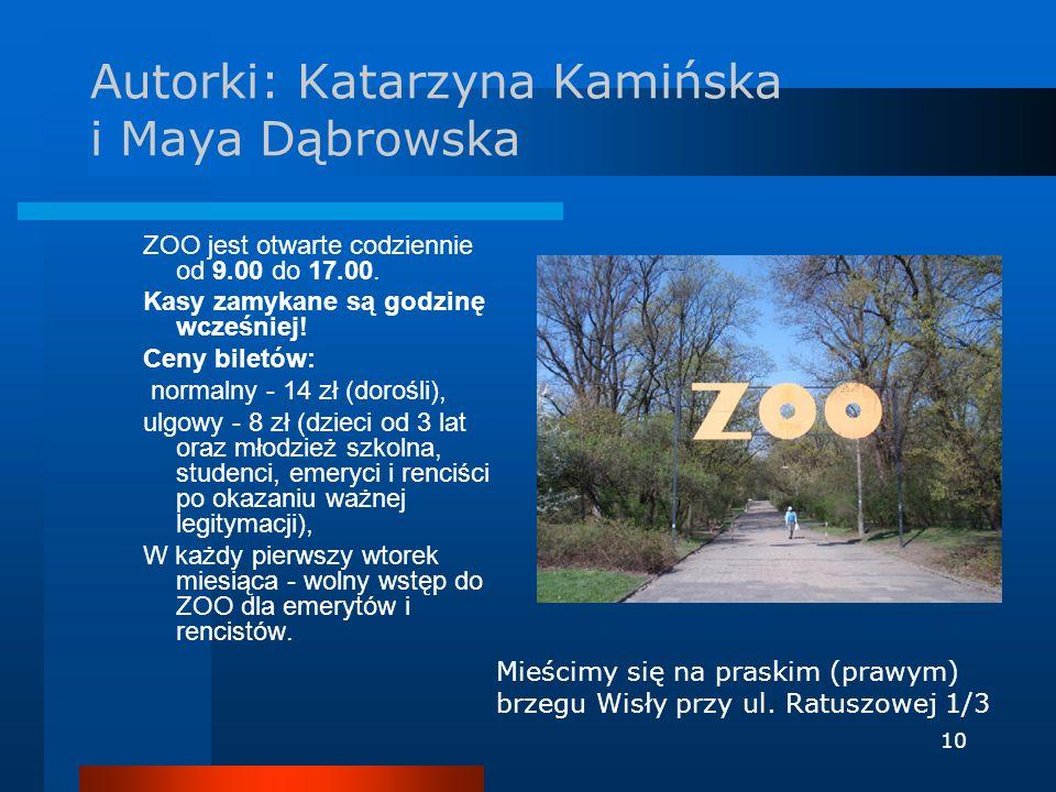 10 Autorki: Katarzyna Kamińska i Maya Dąbrowska ZOO jest otwarte codziennie od 9.00 do 17.00. Kasy zamykane są godzinę wcześniej! Ceny biletów: normal