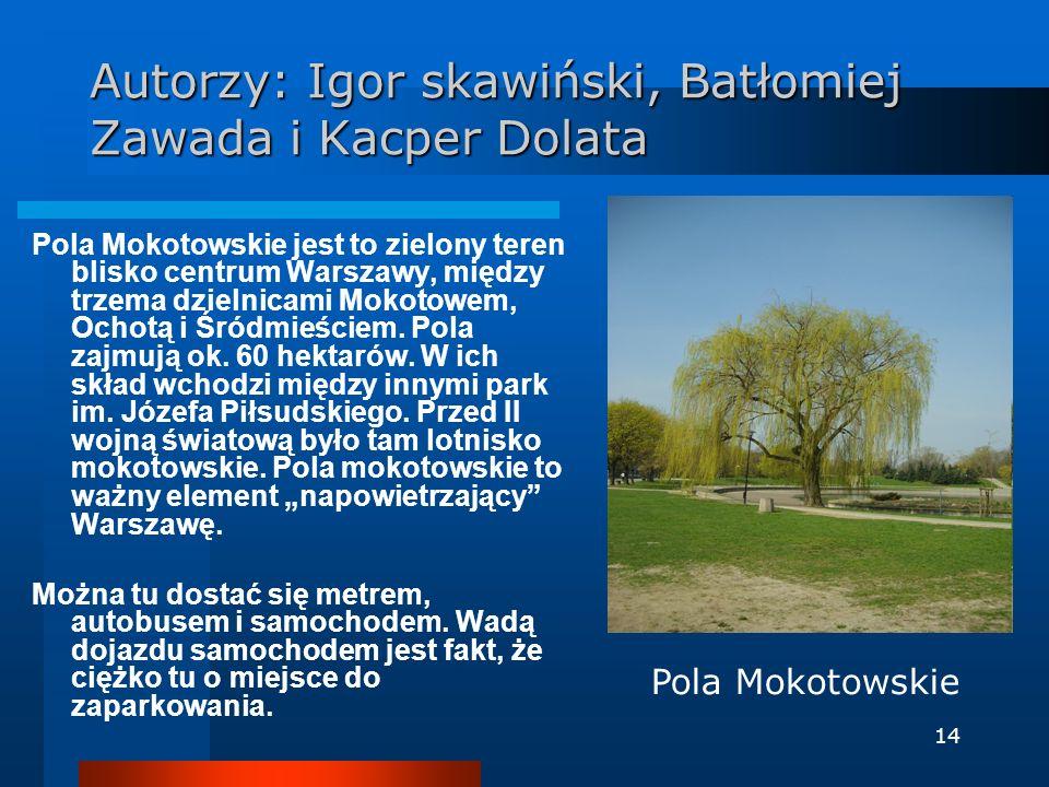 14 Autorzy: Igor skawiński, Batłomiej Zawada i Kacper Dolata Pola Mokotowskie jest to zielony teren blisko centrum Warszawy, między trzema dzielnicami