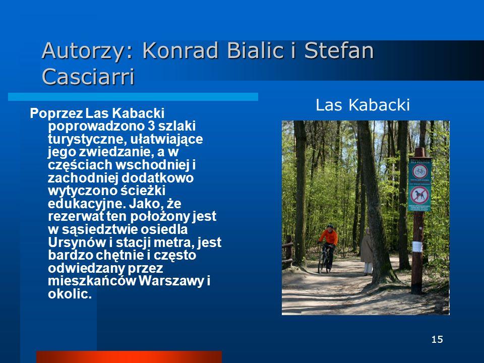 15 Autorzy: Konrad Bialic i Stefan Casciarri Poprzez Las Kabacki poprowadzono 3 szlaki turystyczne, ułatwiające jego zwiedzanie, a w częściach wschodn