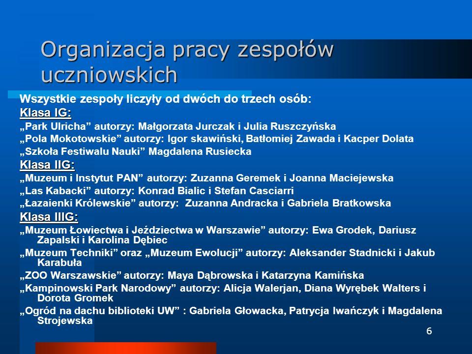 6 Organizacja pracy zespołów uczniowskich Wszystkie zespoły liczyły od dwóch do trzech osób: Klasa IG: Park Ulricha autorzy: Małgorzata Jurczak i Juli