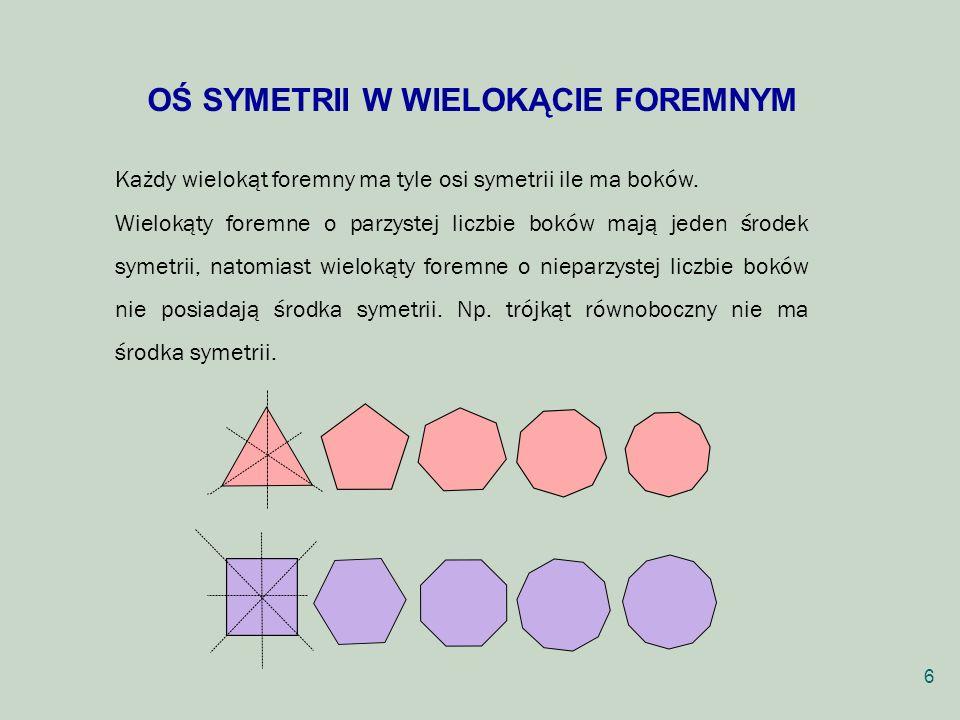 OŚ SYMETRII W WIELOKĄCIE FOREMNYM Każdy wielokąt foremny ma tyle osi symetrii ile ma boków. Wielokąty foremne o parzystej liczbie boków mają jeden śro