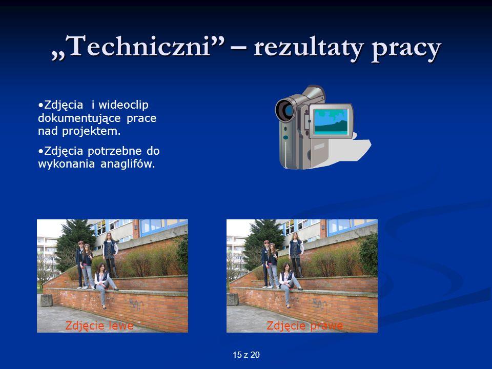 15 z 20 Techniczni – rezultaty pracy Zdjęcia i wideoclip dokumentujące prace nad projektem.