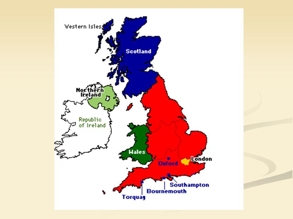 Podział administracyjny Wielka Brytania podzielona jest na 4 części składowych, będące niegdyś samodzielnymi królestwami - dwa kraje: Anglię i Szkocję