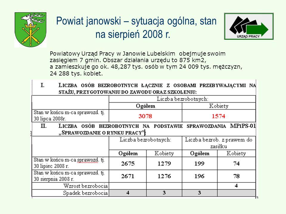 Powiatowy Urząd Pracy w Janowie Lubelskim obejmuje swoim zasięgiem 7 gmin.