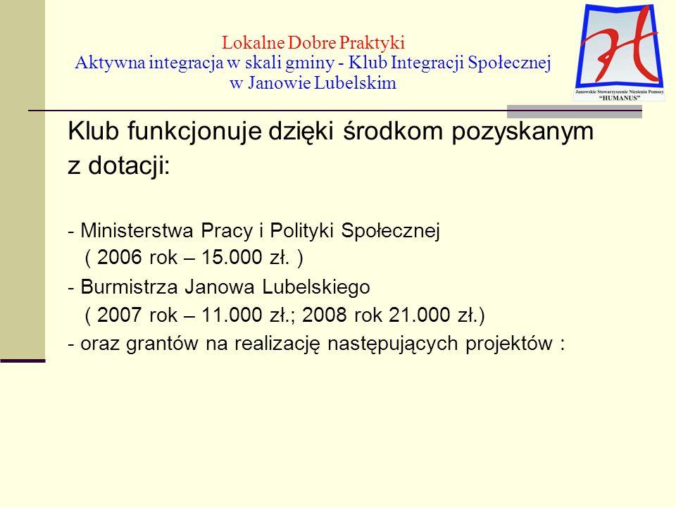 Klub funkcjonuje dzięki środkom pozyskanym z dotacji: - Ministerstwa Pracy i Polityki Społecznej ( 2006 rok – 15.000 zł.