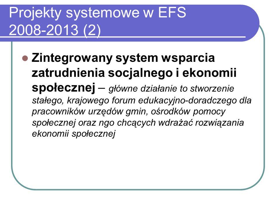 Projekty systemowe w EFS 2008-2013 (2) Zintegrowany system wsparcia zatrudnienia socjalnego i ekonomii społecznej – główne działanie to stworzenie stałego, krajowego forum edukacyjno-doradczego dla pracowników urzędów gmin, ośrodków pomocy społecznej oraz ngo chcących wdrażać rozwiązania ekonomii społecznej