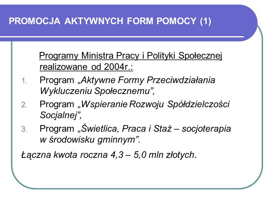 PROMOCJA AKTYWNYCH FORM POMOCY (1) Programy Ministra Pracy i Polityki Społecznej realizowane od 2004r.: 1.