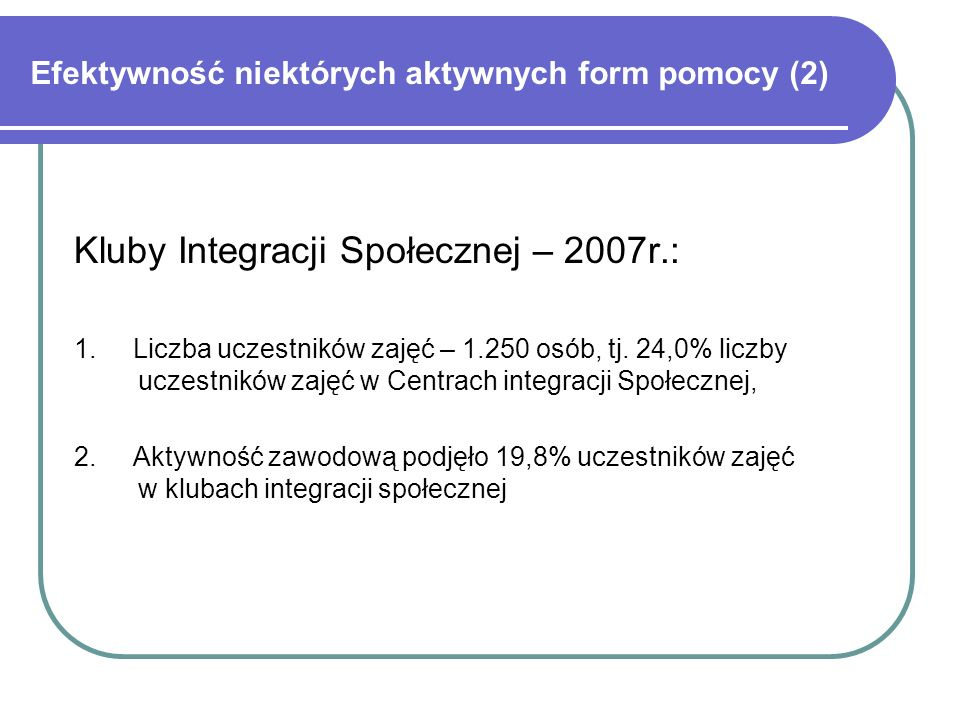 Efektywność niektórych aktywnych form pomocy (3) Ośrodki Wsparcia Spółdzielni Socjalnych - od 2006r: 1.