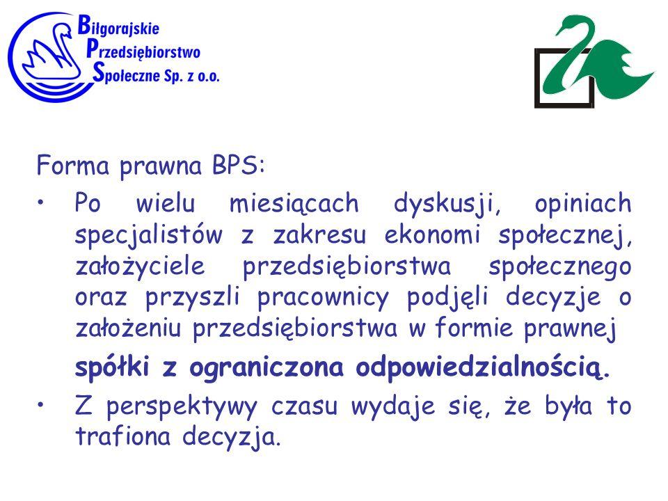 Forma prawna BPS: Po wielu miesiącach dyskusji, opiniach specjalistów z zakresu ekonomi społecznej, założyciele przedsiębiorstwa społecznego oraz przy