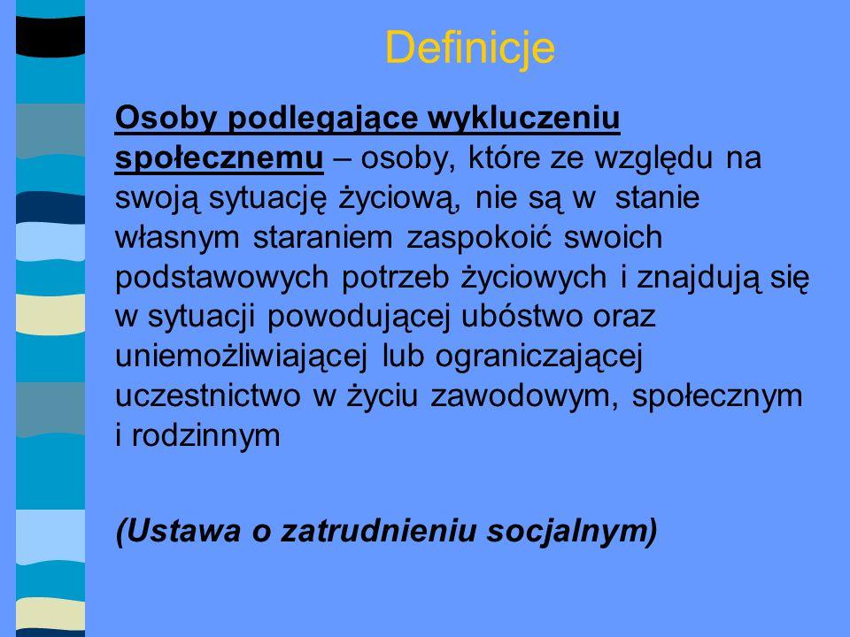 Definicje Przeciwdziałanie zjawisku wykluczenia społecznego - aktywizacja osób pozostających w najtrudniejszej sytuacji na rynku pracy (Narodowa Strategia Rozwoju Regionalnego)