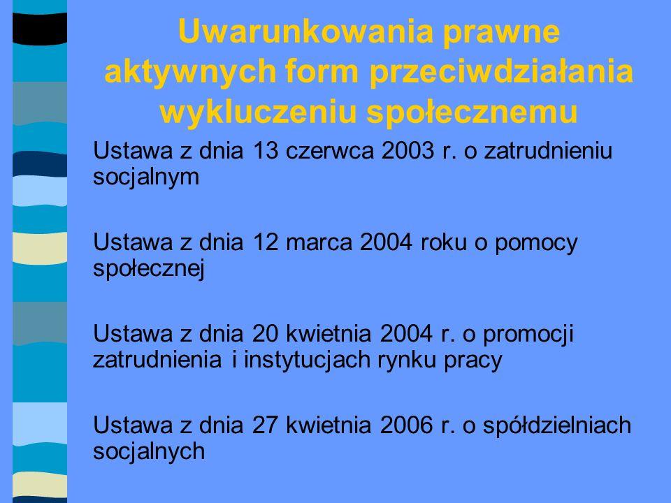 Uwarunkowania prawne aktywnych form przeciwdziałania wykluczeniu społecznemu Ustawa z dnia 13 czerwca 2003 r.