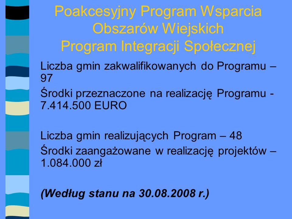 Program Operacyjny Kapitał Ludzki Liczba jednostek realizujących Program – 139 125 ośrodków pomocy społecznej 14 powiatowych centrów pomocy rodzinie Środki przeznaczone na realizację projektów w ramach Programu – 13.770.000 zł.