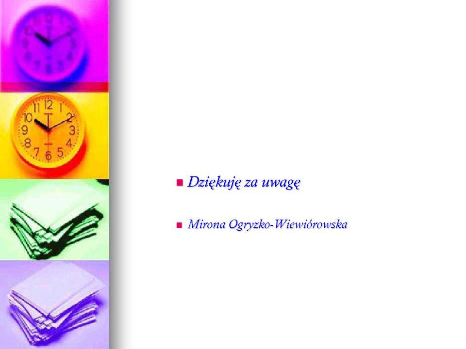 Dzi ę kuj ę za uwag ę Dzi ę kuj ę za uwag ę Mirona Ogryzko-Wiewiórowska Mirona Ogryzko-Wiewiórowska