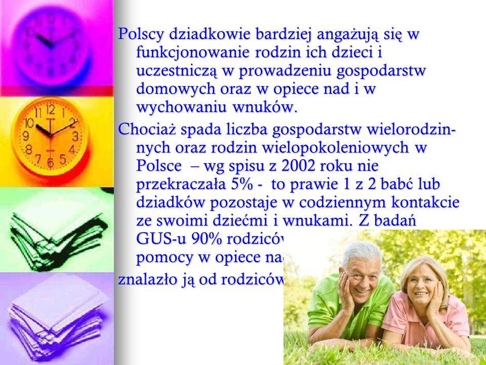 Polscy dziadkowie bardziej anga ż uj ą si ę w funkcjonowanie rodzin ich dzieci i uczestnicz ą w prowadzeniu gospodarstw domowych oraz w opiece nad i w