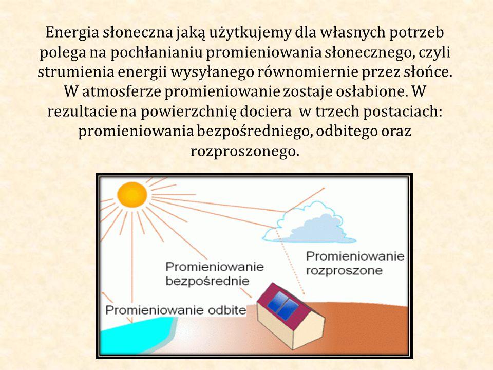 Energia słoneczna jaką użytkujemy dla własnych potrzeb polega na pochłanianiu promieniowania słonecznego, czyli strumienia energii wysyłanego równomiernie przez słońce.