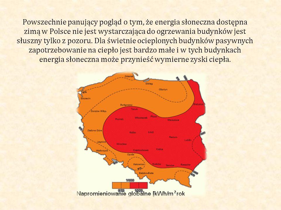 Powszechnie panujący pogląd o tym, że energia słoneczna dostępna zimą w Polsce nie jest wystarczająca do ogrzewania budynków jest słuszny tylko z pozoru.