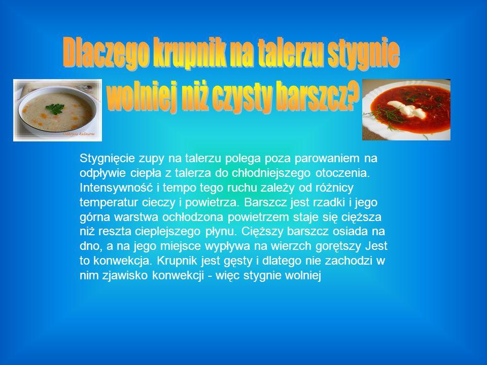 Stygnięcie zupy na talerzu polega poza parowaniem na odpływie ciepła z talerza do chłodniejszego otoczenia. Intensywność i tempo tego ruchu zależy od