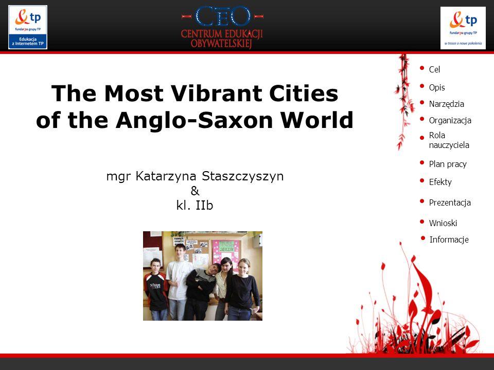 Cel Opis Narzędzia Organizacja Rola nauczyciela Plan pracy Efekty Prezentacja Wnioski The Most Vibrant Cities of the Anglo-Saxon World mgr Katarzyna S