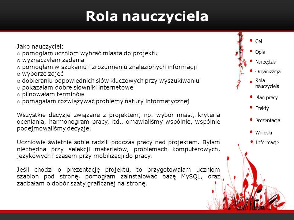 Plan pracy Plan pracy pokrywa się z podziałem obowiązków przedstawionym na slajdzie Organizacja (2).