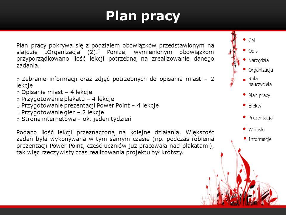 Plan pracy Plan pracy pokrywa się z podziałem obowiązków przedstawionym na slajdzie Organizacja (2). Poniżej wymienionym obowiązkom przyporządkowano i