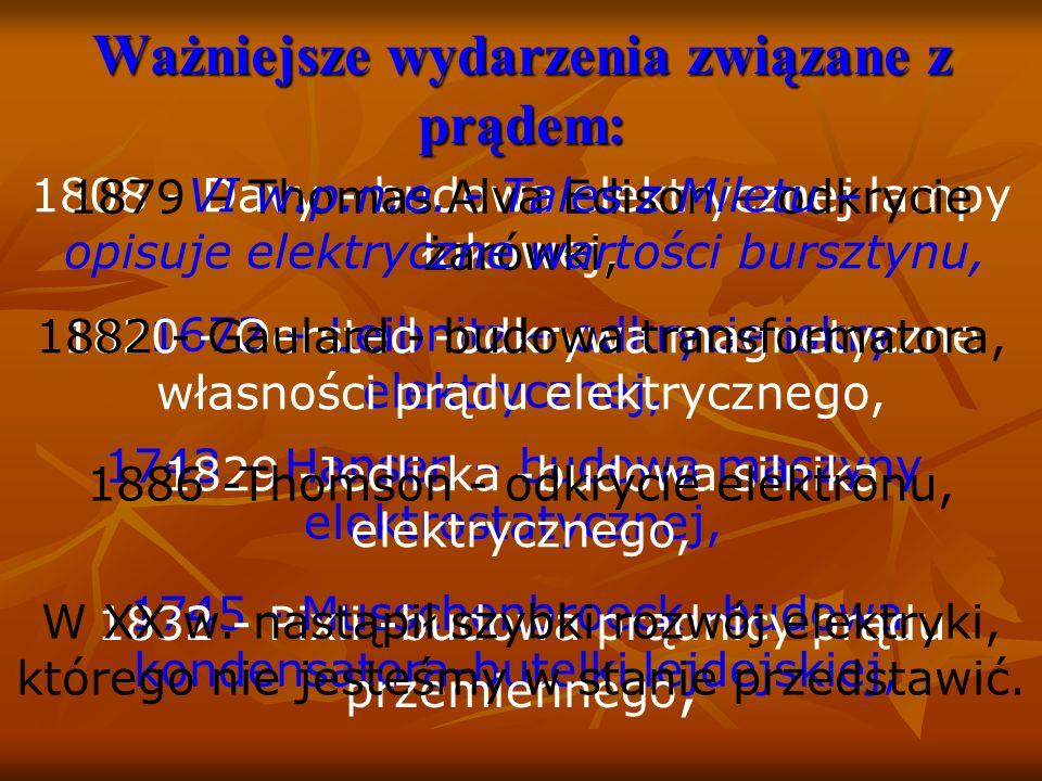 1745 - Musschenbroeck -budowa kondensatora-butelki lejdejskiej, 1832 - Pixii -budowa prądnicy prądu przemiennego, W XX w.
