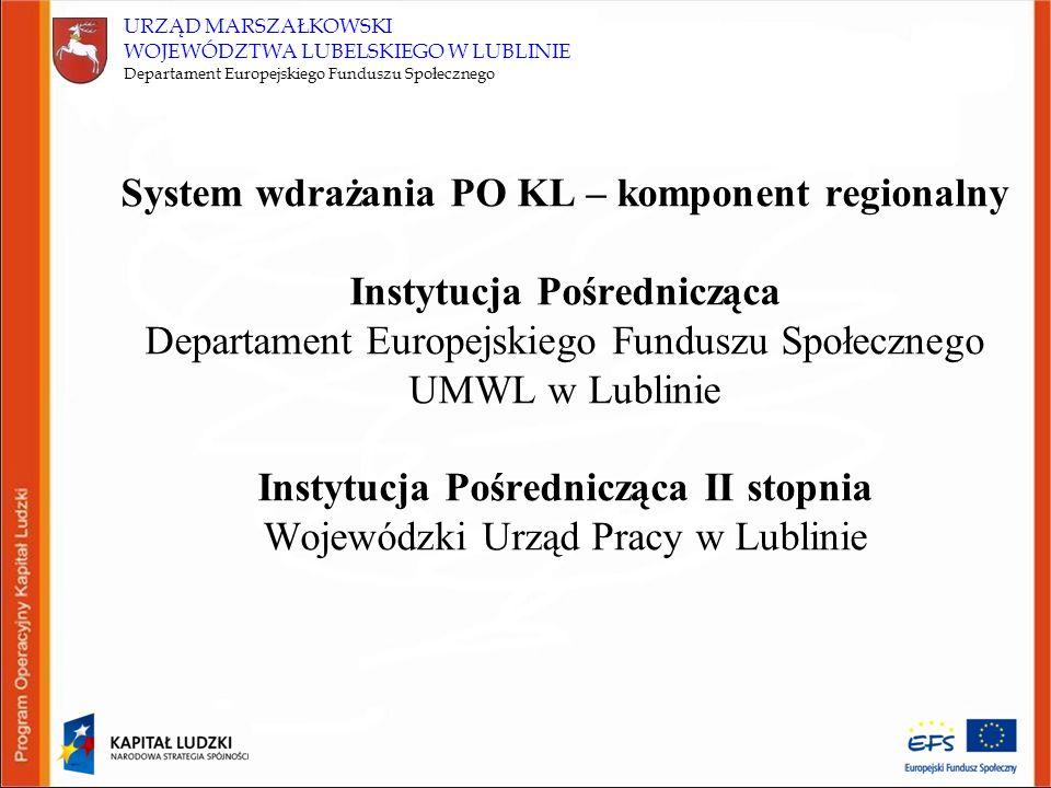 URZĄD MARSZAŁKOWSKI WOJEWÓDZTWA LUBELSKIEGO W LUBLINIE Departament Europejskiego Funduszu Społecznego System wdrażania PO KL – komponent regionalny In