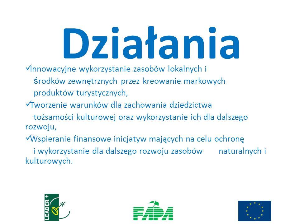 Innowacyjne wykorzystanie zasobów lokalnych i ś rodków zewnętrznych przez kreowanie markowych produktów turystycznych, Tworzenie warunków dla zachowania dziedzictwa tożsamości kulturowej oraz wykorzystanie ich dla dalszego rozwoju, Wspieranie finansowe inicjatyw mających na celu ochronę i wykorzystanie dla dalszego rozwoju zasobów naturalnych i kulturowych.
