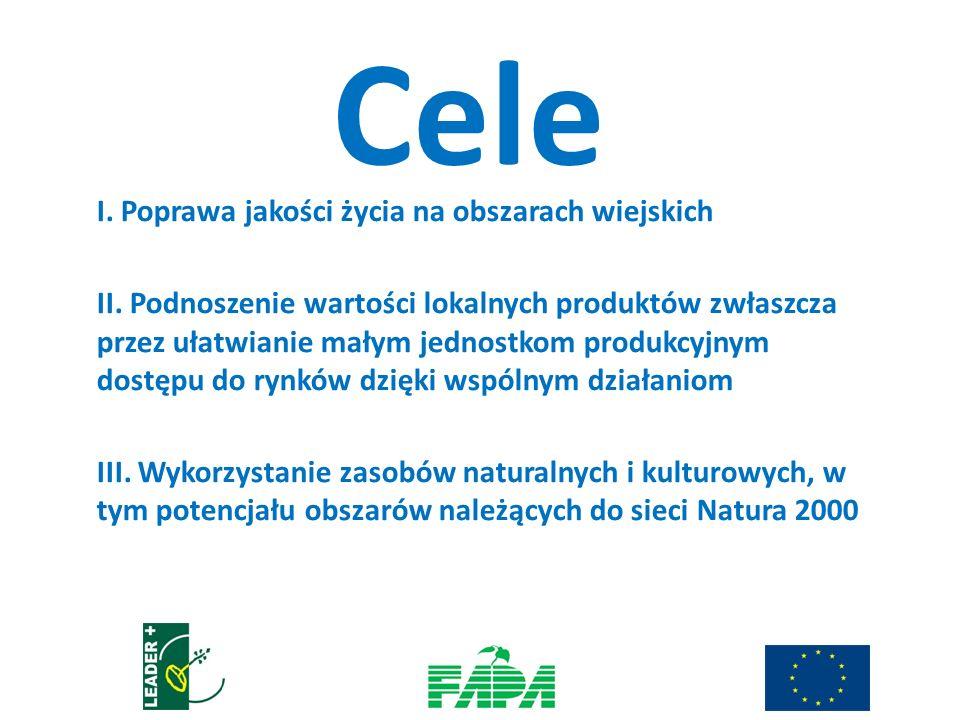 Cele I. Poprawa jakości życia na obszarach wiejskich II. Podnoszenie wartości lokalnych produktów zwłaszcza przez ułatwianie małym jednostkom produkcy