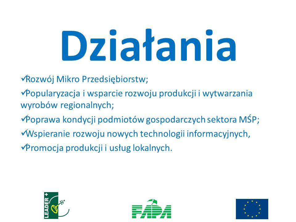 Rozwój Mikro Przedsiębiorstw; Popularyzacja i wsparcie rozwoju produkcji i wytwarzania wyrobów regionalnych; Poprawa kondycji podmiotów gospodarczych sektora MŚP; Wspieranie rozwoju nowych technologii informacyjnych, Promocja produkcji i usług lokalnych.