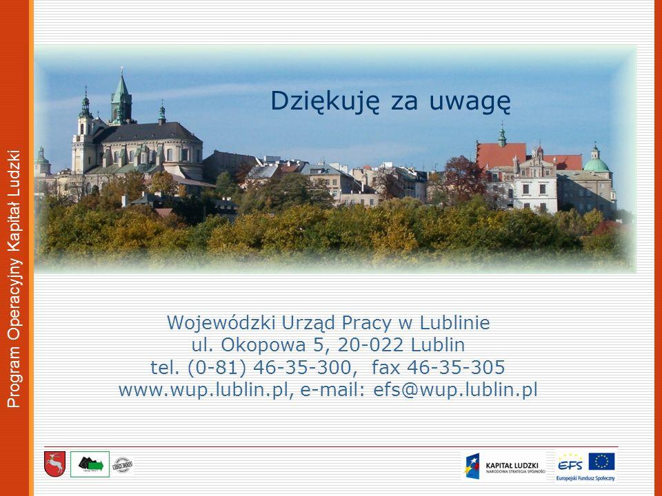 Dziękuję za uwagę Wojewódzki Urząd Pracy w Lublinie ul. Okopowa 5, 20-022 Lublin tel. (0-81) 46-35-300, fax 46-35-305 www.wup.lublin.pl, e-mail: efs@w