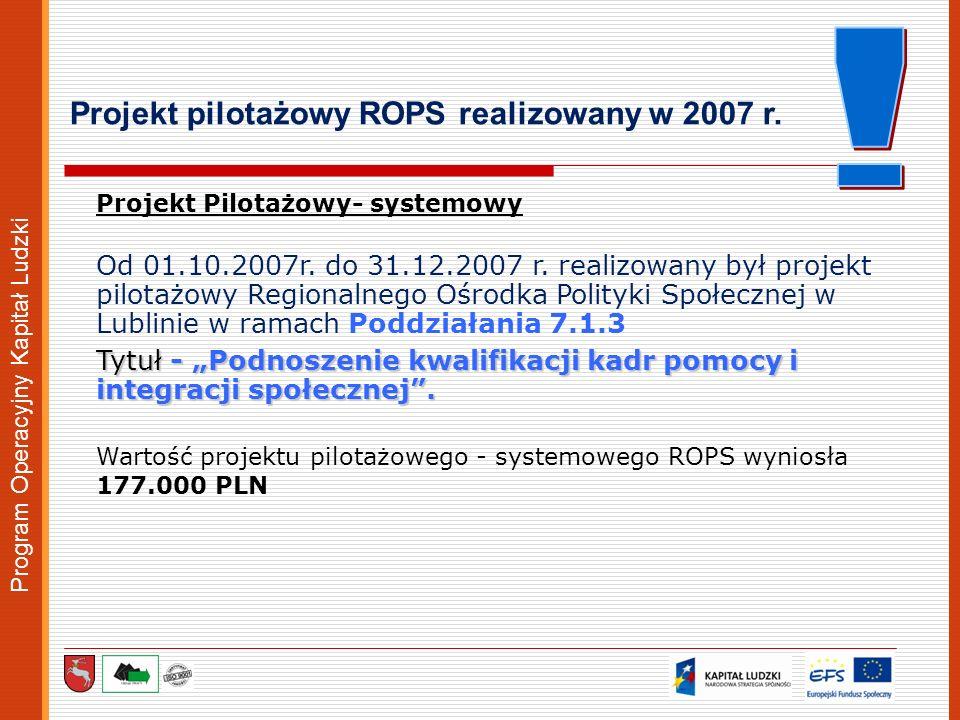 Program Operacyjny Kapitał Ludzki Projekt Pilotażowy- systemowy Od 01.10.2007r. do 31.12.2007 r. realizowany był projekt pilotażowy Regionalnego Ośrod