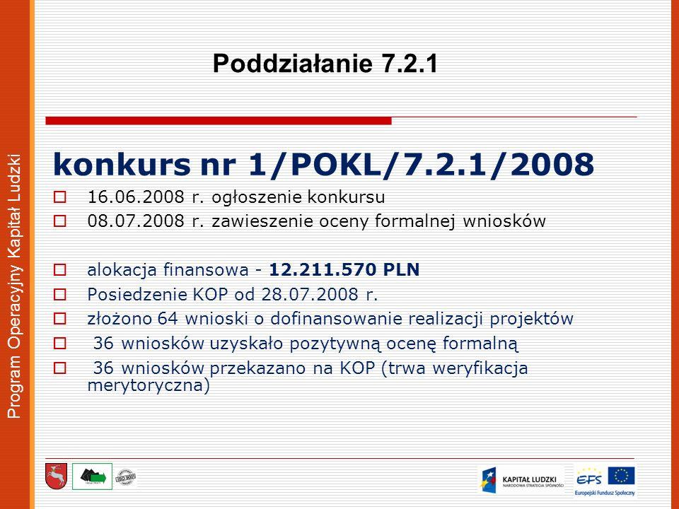 Program Operacyjny Kapitał Ludzki Poddziałanie 7.2.1 konkurs nr 1/POKL/7.2.1/2008 16.06.2008 r. ogłoszenie konkursu 08.07.2008 r. zawieszenie oceny fo