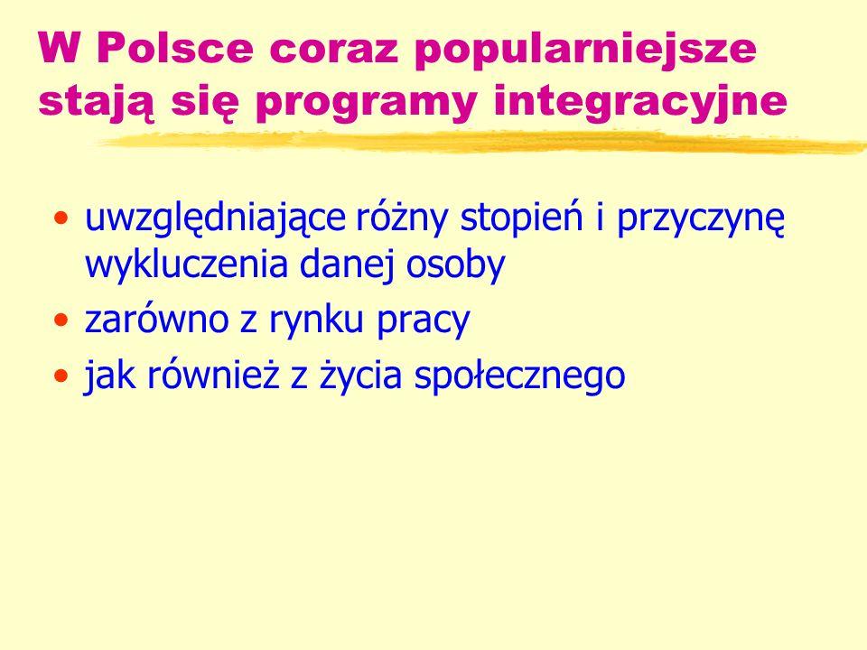 W Polsce coraz popularniejsze stają się programy integracyjne uwzględniające różny stopień i przyczynę wykluczenia danej osoby zarówno z rynku pracy jak również z życia społecznego