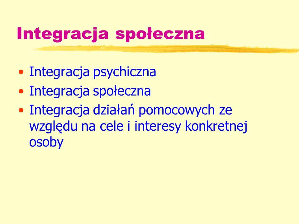 Integracja społeczna Integracja psychiczna Integracja społeczna Integracja działań pomocowych ze względu na cele i interesy konkretnej osoby