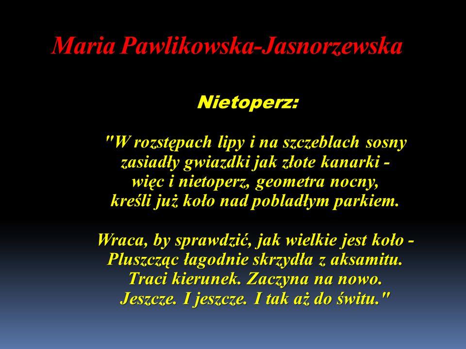 Maria Pawlikowska-Jasnorzewska Nietoperz: W rozstępach lipy i na szczeblach sosny zasiadły gwiazdki jak złote kanarki - więc i nietoperz, geometra nocny, kreśli już koło nad pobladłym parkiem.