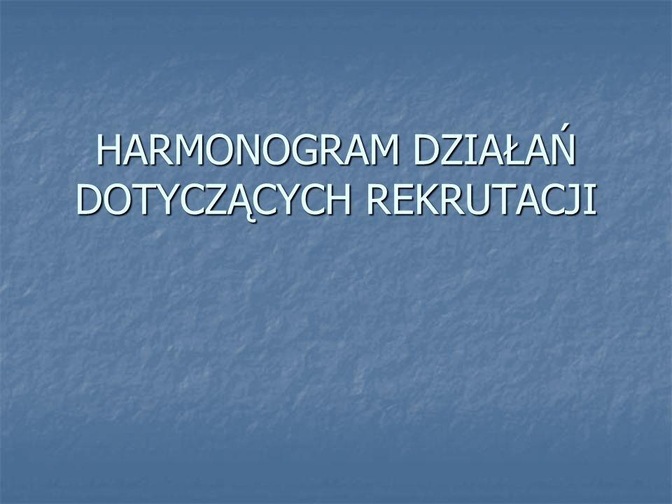 HARMONOGRAM DZIAŁAŃ DOTYCZĄCYCH REKRUTACJI