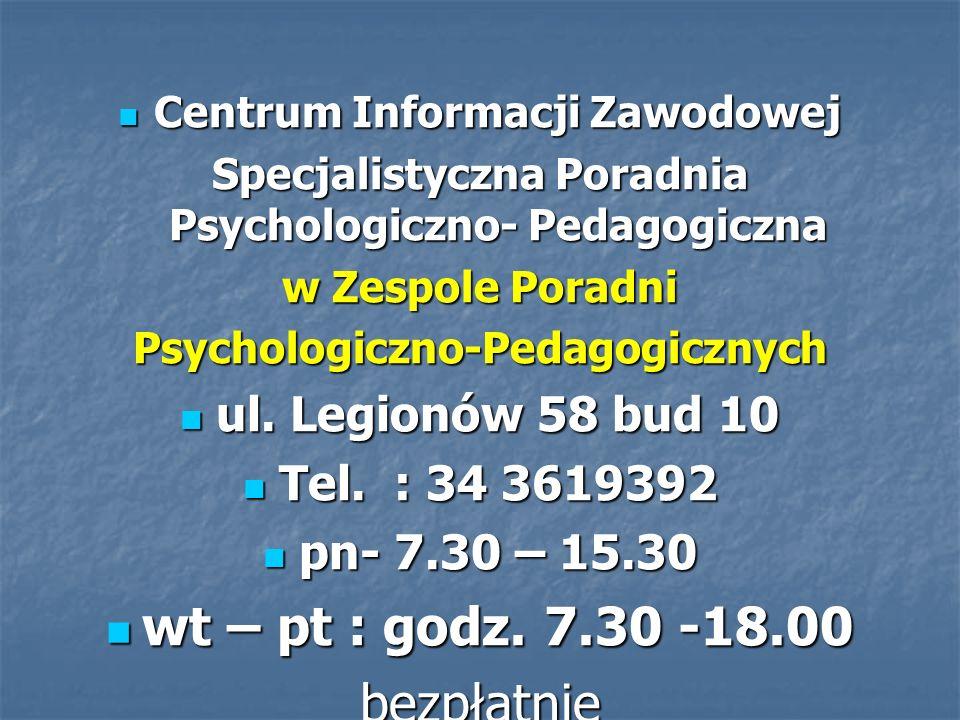 Centrum Informacji Zawodowej Centrum Informacji Zawodowej Specjalistyczna Poradnia Psychologiczno- Pedagogiczna w Zespole Poradni Psychologiczno-Pedag